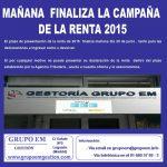 MAÑANA  FINALIZA LA CAMPAÑA DE LA RENTA 2015.
