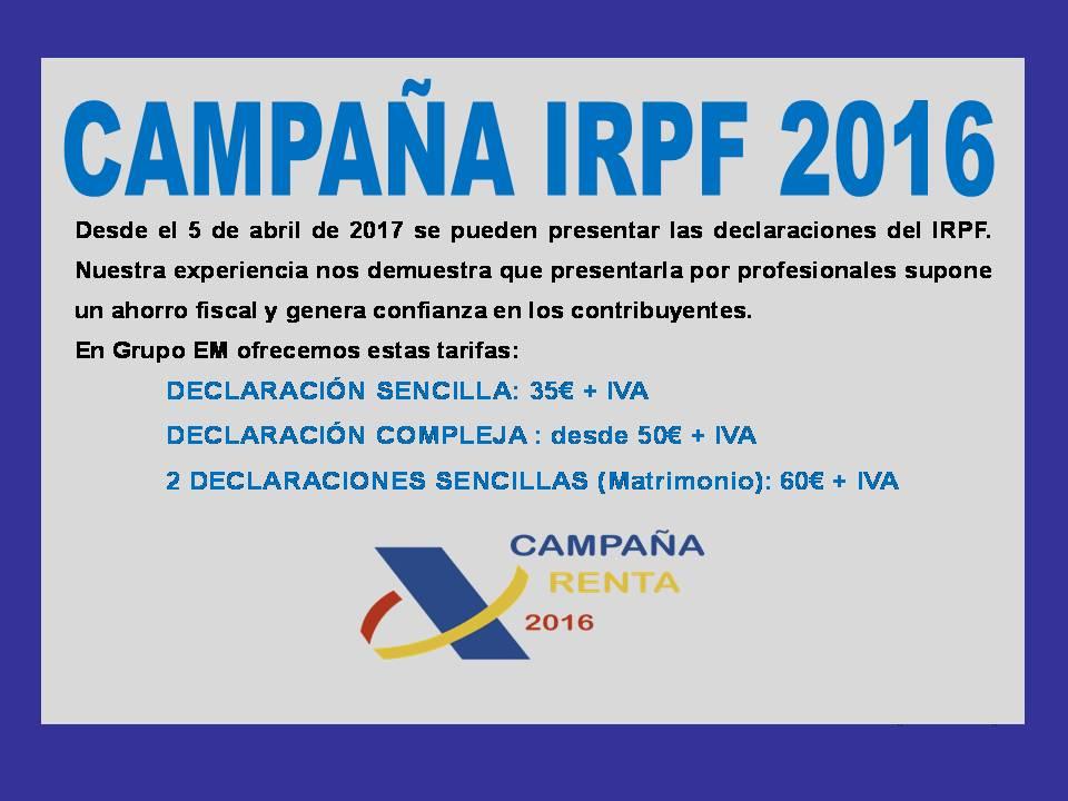 INICIO DE LA CAMPAÑA IRPF 2016